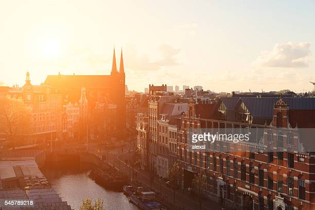 Aerial view scenics cityscape sunset Amsterdam, Netherlands