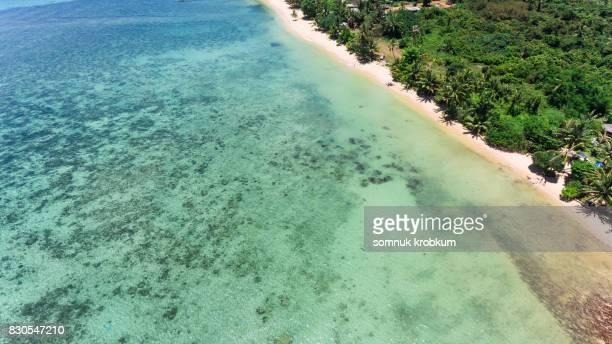 Aerial view sea coastal in summer