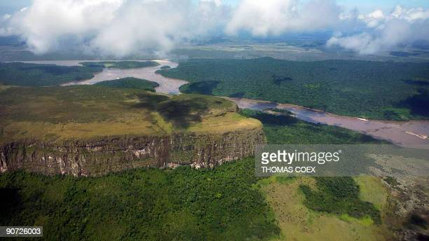 Aerial view September 13 2009 of a 'tepuy' typical of the region of the Angel Falls the world's highest waterfall with a height of 979 m near the...