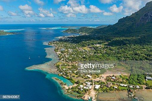 Aerial view, settlement on the coast, Bora Bora, French Polynesia