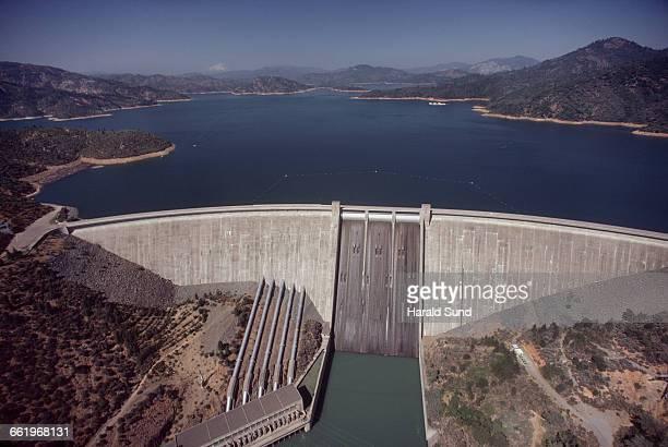 Aerial view, Shasta Dam and Lake Shasta.
