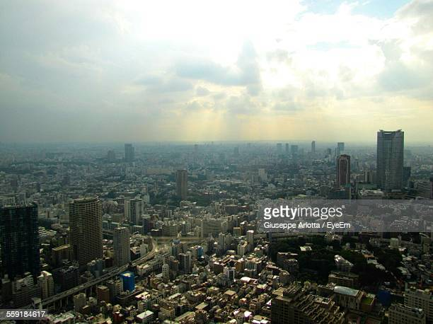 Aerial View Shot Of Cityscape During Sunset