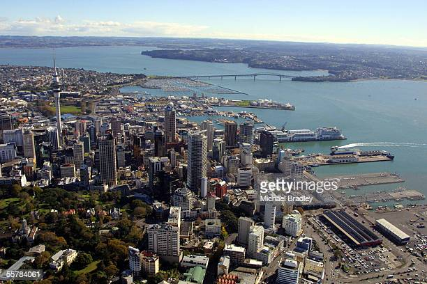 Aerial view showing the Auckland city central business district the Sky City Tower Harbour bridge and Waitemata Harbour Thursday
