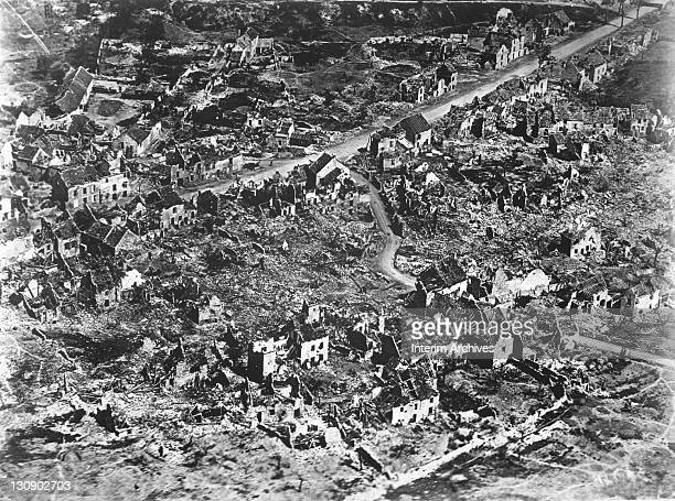 Aerial view showing the ruined landscape of Vaux France 1918
