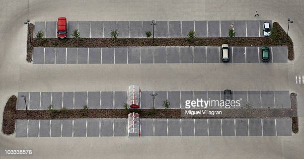 Aerial view shows an almost empty parking area next to a supermarket on August 11 2010 in Peiting Germany The small city of Peiting near the Ammersee...