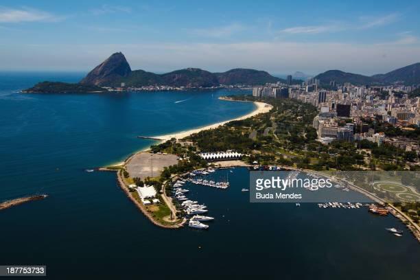 Aerial view shows the Marina da Gloria and the iconic Sugarloaf mountain on November 12 2013 in Rio de Janeiro Brazil