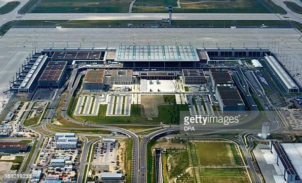 Aerial view shows the 'Willy Brandt' BerlinBrandenburg International Airport on September 4 2012 in Schoenefeld near Berlin As German media reported...