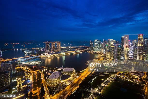Aerial View Singapore Marina Bay at Dusk