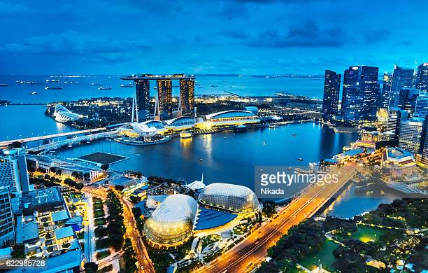Aerial View Singapore, Marina Bay at Dusk