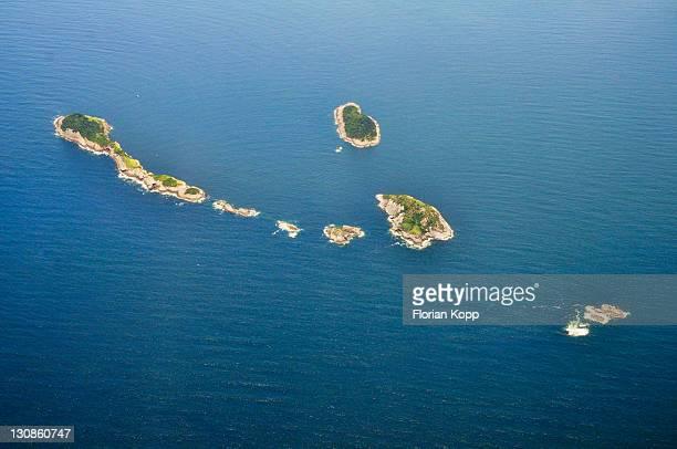 Aerial view, small tropical islands off Rio de Janeiro, Brazil, South America