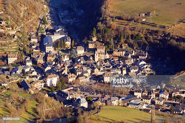 Aerial view small village in France