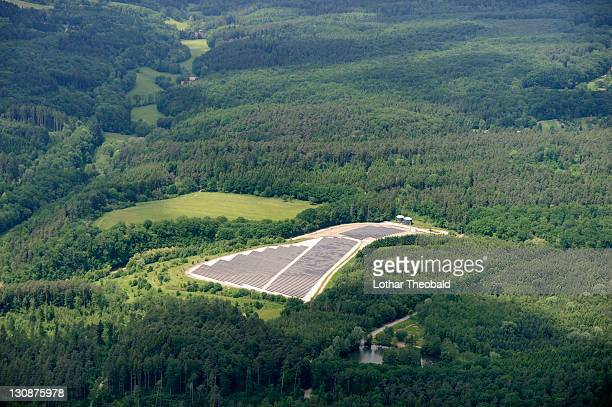 Aerial view, solar energy plant in the forest south of Stuttgart, Baden-Wuerttemberg, Germany, Europe