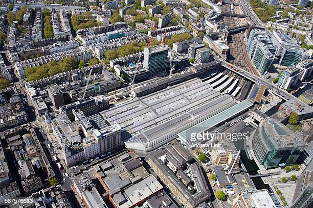 Aerial view south west of the roof of Paddington Station