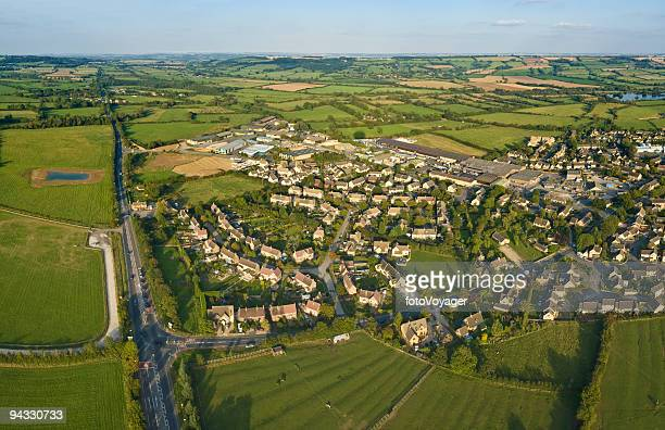 Aerial view, suburb, exurb, country