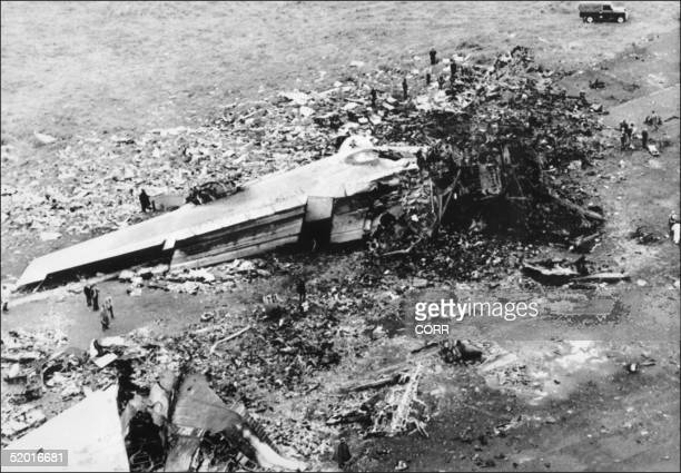 Aerial view taken 28 March 1977 of a KLM Jumbo Jet and a Boeing 747 remains that collided 27 March above Santa Cruz De Tenerife airport killing 580...