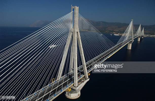Aerial view taken on 08 August 2004 of the RioAntirio bridge of 22kilometre that spans the straits separating the Gulf of Corinth from the Gulf of...