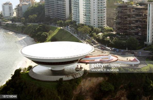 Aerial view taken on April 30 2009 of the famous Museum of Contemporary Art designed by Brazilian architect Oscar Niemeyer in Niteroi near Rio de...