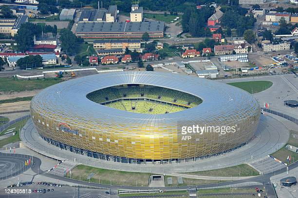 Aerial view taken on August 21 2011 shows the PGE Arena football stadium that was built for the UEFA Euro 2012 to be held in Poland and Ukraine from...