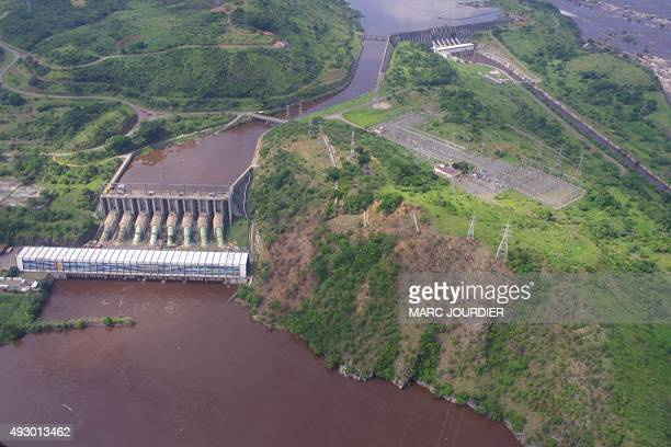 Aerial view taken on December 16 2013 in Inga shows Inga 1 and Inga 2 power plants on the Congo river The Democratic Republic of Congo and South...