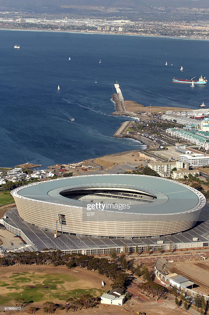 Aerial view taken on February 17 2010 shows the Green Point Stadium in Cape Town South Africa ahead of the 2010 Football World Cup About 450 000...