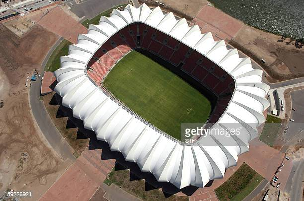 Aerial view taken on February 17 2010 shows the Nelson Mandela Bay stadium in Port Elizabeth South Africa ahead of the 2010 Football World Cup About...