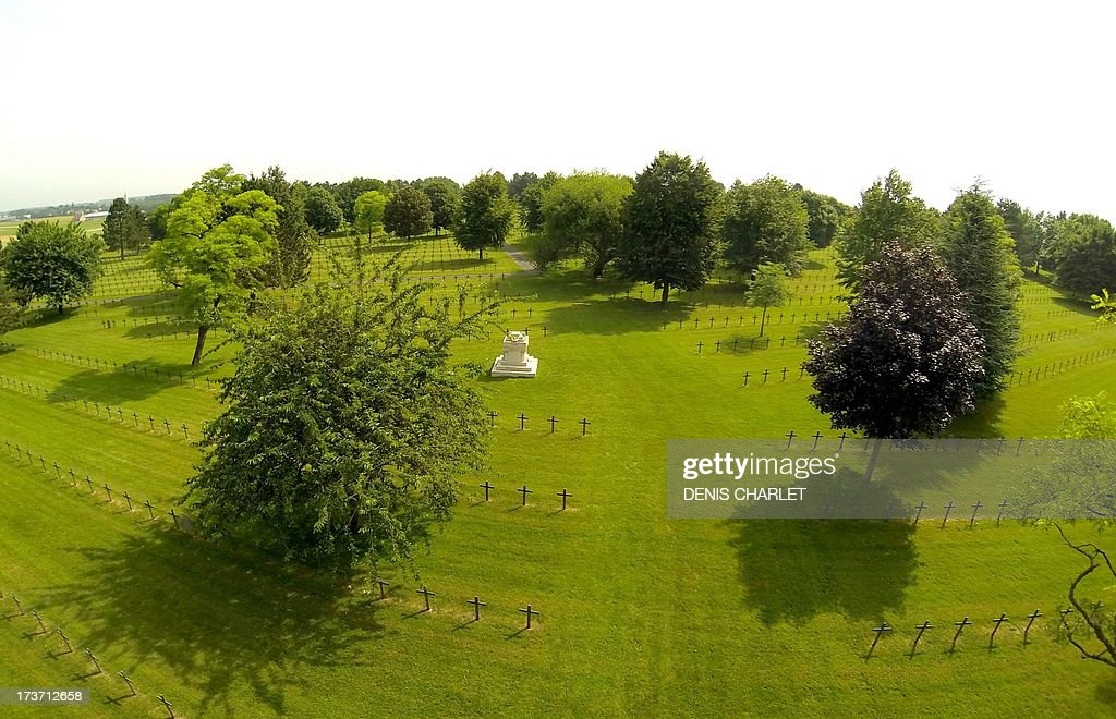 Aerial view taken on July 16, 2013 shows the Neuville Saint Vaast German war cemetery near Arras. The cemetery, the largest German war cemetery in France, was established by French authorities at the end of the World War 1.