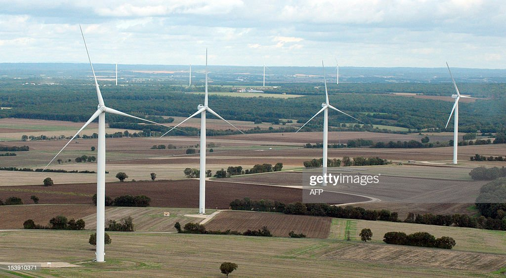 Aerial view taken on October 10, 2012 shows wind turbines in the countryside between Poitiers and Angouleme.