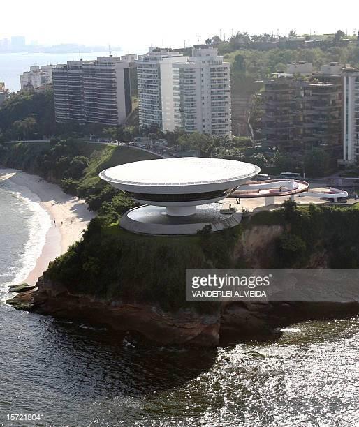Aerial view the famous Museum of Contemporary Art designed by Brazilian architect Oscar Niemeyer in Niteroi near Rio de Janeiro taken on April 30...