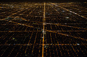 Aerial view to night city Chicago streets