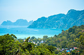 Aerial view to Phi Phi island. One of the best landmarks of Thailand