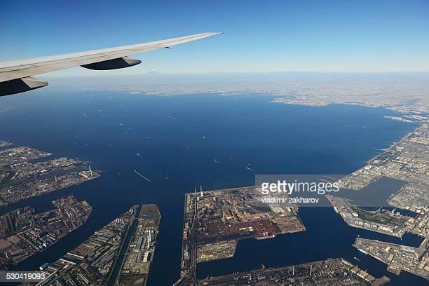 Aerial view Tokyo Bay