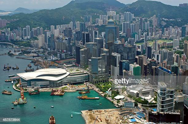Aerial view towards Wanchai and Happy Valley from the rooftop of IFC 2 showing the Convention and Exhibition Centre