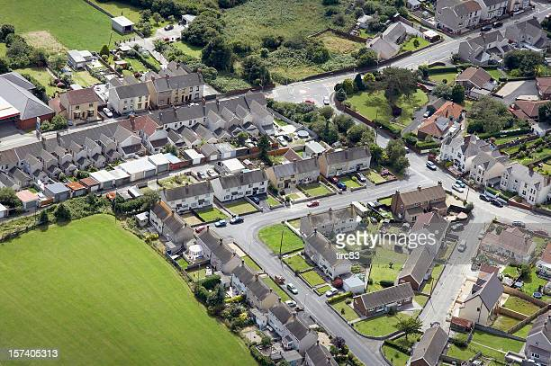 Aerial view urban housing estate