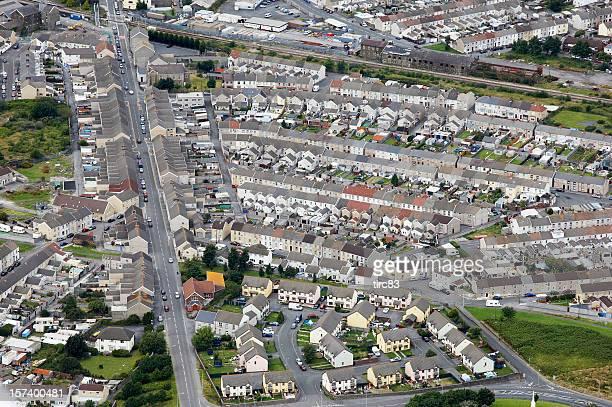 Aerial view urban housing