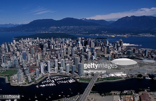 aerial view vancouver city skyline