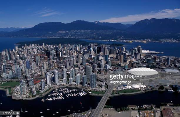 aerial view vancouver city skyline
