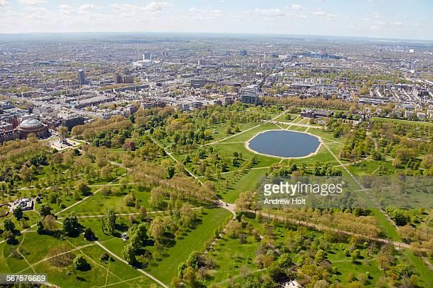 Aerial view west of Hyde Park and kensington palace also Royal Albert hall albert memorial  London W2 UK;