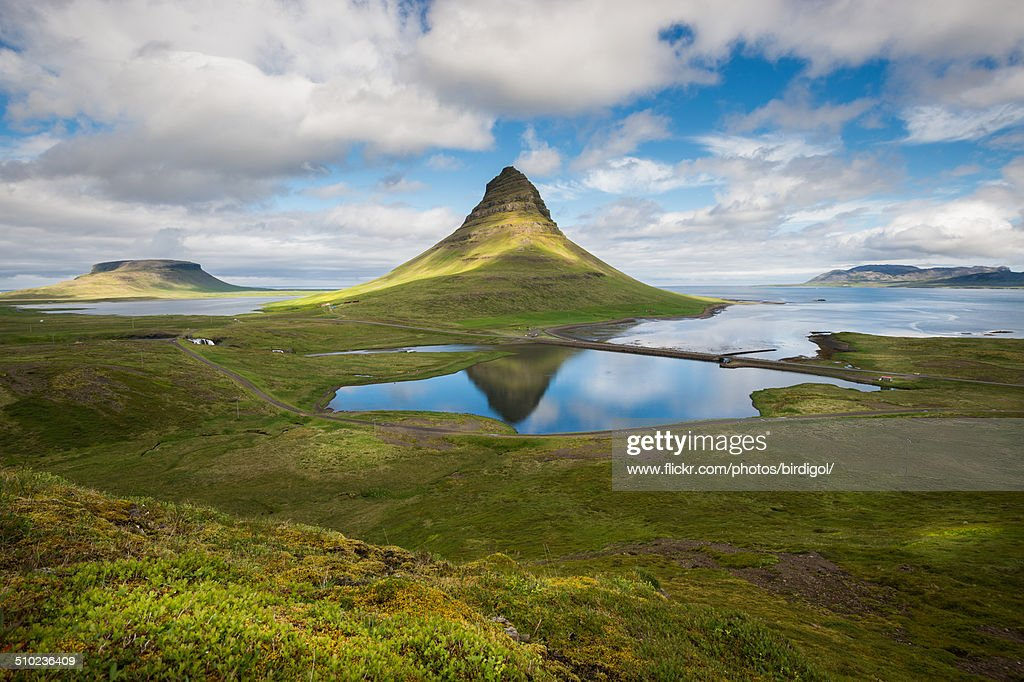 Aerial view with Kirkjufell Mountain