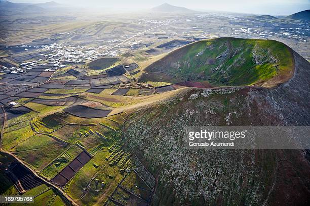 Aerial view with volcanic landscape in Lanzarote.