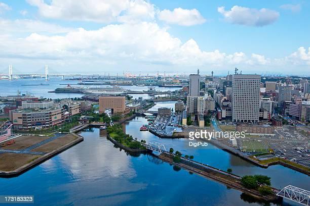 Aerial view Yokohama Bay and sea shore area