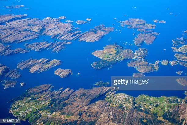 Luftansicht des Norwegens Küste
