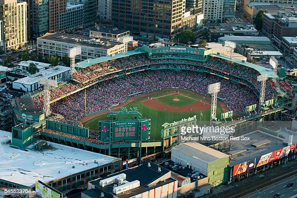 Aerial views of Fenway Park and surrounding areas as the Boston Red Sox play the Texas Rangers on July 5 2016 in Boston Massachusetts