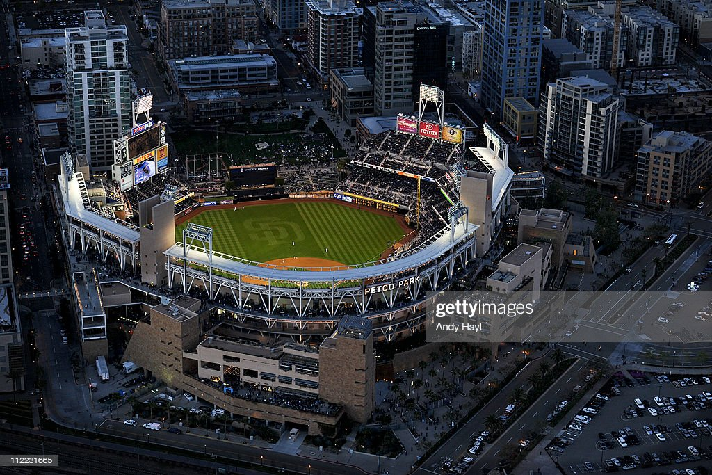Aerial views of Petco Park in downtown San Diego during the San Diego Padres game against the Los Angeles Dodgers on Saturday, April 9, 2011 at Petco Park in San Diego, CA. The Dodgers won 2-4 and 0-4.