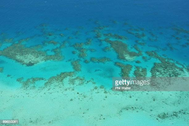 Aerial views of The Great Barrier Reef are seen from above on August 7 2009 in Cairns Australia A recent report by marine scientist Charlie Veron...