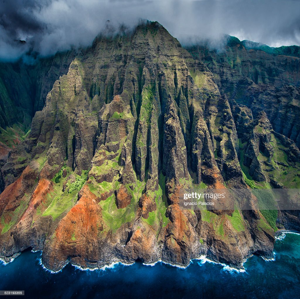 Aerial views of the Na Pali Coast, Kauai