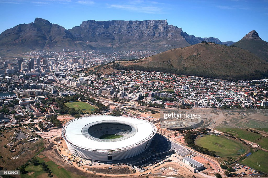 Aerial views of the new Cape Town Stadium from the top of Table Mountain as Cape Town prepares for the FIFA World Cup draw November 23 2009 in Cape...