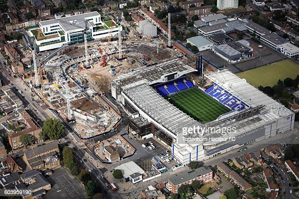 Aerial Views of the White Hart Lane Stadium Development the home of Tottenham Hotspur at White Hart Lane on September 9 2016 in London England