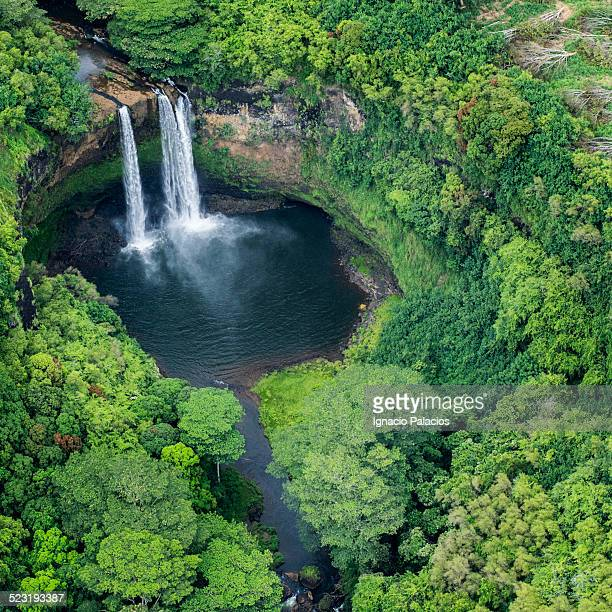 Aerial views of Wailua falls, Kauai