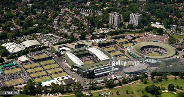 Aerial views on Day Seven of the Wimbledon Lawn Tennis Championships at the All England Lawn Tennis and Croquet Club on June 27 2011 in London England