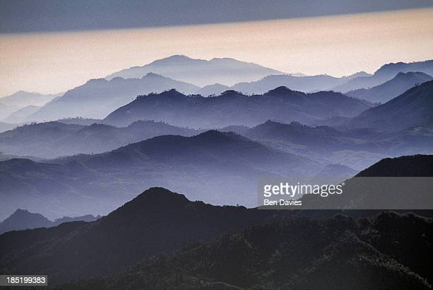 Aerial views over the Cordillera mountain range of central Laos now covered in clouds and mist The country boasts some of the most panoramic and...